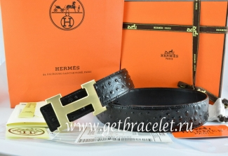 Hermes Reversible Belt Black/Black Ostrich Stripe Leather With 18K Drawbench Gold H Buckle
