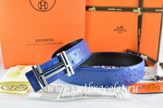 Hermes Reversible Belt Blue/Black Ostrich Stripe Leather With 18K Silver H au Carre Buckle