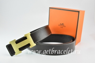 Hermes Reversible Belt Black/Black Togo Calfskin With 18k Drawbench Gold H Buckle