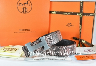 Hermes Reversible Belt Brown/Black Snake Stripe Leather With 18K Silver H Buckle