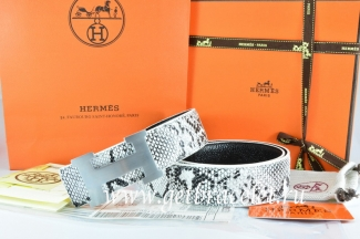 Hermes Reversible Belt White/Black Snake Stripe Leather With 18K Silver H Buckle