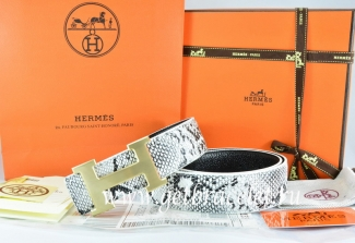 Hermes Reversible Belt White/Black Snake Stripe Leather With 18K Drawbench Gold H Buckle