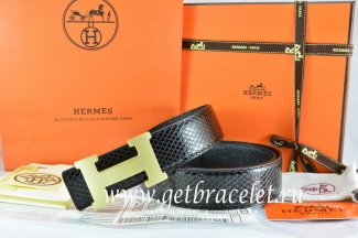 Hermes Reversible Belt Black/Black Snake Stripe Leather With 18K Gold H Buckle
