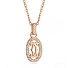 Cartier Logo Double C Necklace In Pink Gold With Diamonds