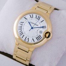 Ballon Bleu de Cartier large watch silver dial 18kt yellow gold