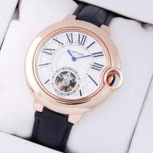 Ballon Bleu de Cartier Flying Tourbillon extra large watch W6920001 18K pink gold leather strap