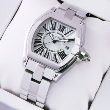 Cartier Roadster small stainless steel silver dial replica watch for women