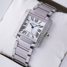 Cartier Tank Francaise diamond mens watch replica stainless steel