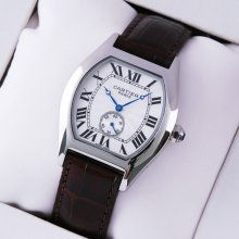 Cartier Tortue medium imitation watch stainless steel brown leather strap