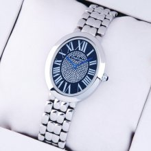 Cartier Baignoire steel womens replica watch with blue diamond dial