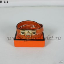 Hermes Rivale Double Wrap Bracelet Orange Gold