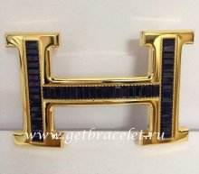 Hermes Reversible Belt 18k Gold With Blue Diamonds H Buckle