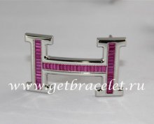 Hermes Reversible Belt 18k Silver With Pink Diamonds H Buckle