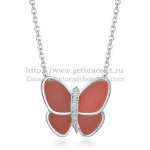Van Cleef & Arpels Flying Butterfly Pendant Necklace White Gold With Red Onyx Diamonds