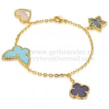 Van Cleef & Arpels Lucky Alhambra 4 Motifs Bracelet Yellow Gold With Stone Combination 001
