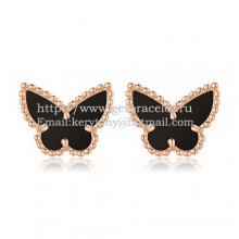 Van Cleef & Arpels Sweet Alhambra Butterfly Earrings Pink Gold With Black Onyx Mother Of Pearl