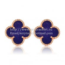 Van Cleef & Arpels Sweet Alhambra Earrings 15mm Pink Gold With Lapis Stone Mother Of Pearl