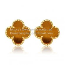 Van Cleef & Arpels Sweet Alhambra Earrings 15mm Yellow Gold With Tiger's Eye Mother Of Pearl