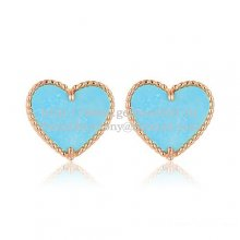 Van Cleef & Arpels Sweet Alhambra Heart Earrings Pink Gold With Turquoise Mother Of Pearl