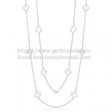 Van Cleef & Arpels Vintage Alhambra Necklace White Gold 10 Motifs With White Mother Of Pearl