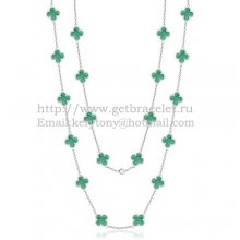 Van Cleef & Arpels Vintage Alhambra Necklace White Gold 20 Motifs With Malachite Mother Of Pearl