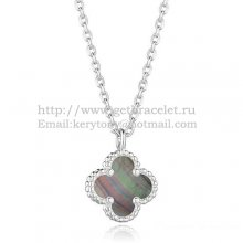 Van Cleef & Arpels Sweet Alhambra Pendant White Gold With Gray Mother Of Pearl 9mm