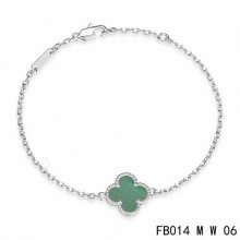 Fake Van Cleef & Arpels Sweet Alhambra Bracelet In White Gold With Malachite