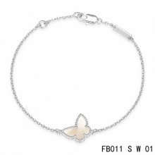 Fake Van Cleef & Arpels Sweet Alhambra Butterfly Bracelet In White Gold With Mother-Of-Pearl