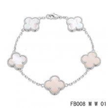 Replica Van Cleef & Arpels Alhambra Bracelet In White With 5 White Clover