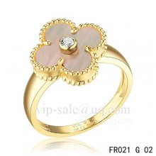 Fake Van Cleef Vintage Alhambra Ring In Yellow Gold With Gray Mother-Of-Pearl