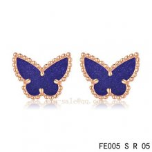 Cheap Van Cleef & Arpels Butterflies Amethyst Pink Gold Earrings
