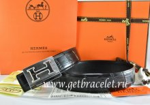 Hermes Reversible Belt Black/Black Crocodile Stripe Leather With18K Silver Big H Buckle