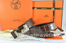 Hermes Reversible Belt Brown/Black Crocodile Stripe Leather With18K Gold Coach Buckle