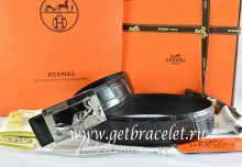 Hermes Reversible Belt Black/Black Crocodile Stripe Leather With18K Silver Coach Buckle