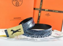 Hermes Reversible Belt Blue/Black Crocodile Stripe Leather With18K Gold Hollow Horse Buckle