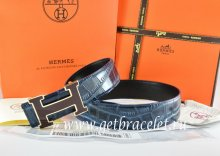 Hermes Reversible Belt Blue/Black Crocodile Stripe Leather With18K Black Gold Width H Buckle
