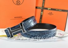 Hermes Reversible Belt Blue/Black Crocodile Stripe Leather With18K Black Silver H Buckle