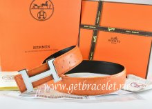 Hermes Reversible Belt Orange/Black Ostrich Stripe Leather With 18K White Silver Narrow H Buckle