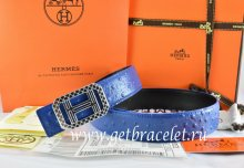 Hermes Reversible Belt Blue/Black Ostrich Stripe Leather With 18K Silver Lace Strip H Buckle