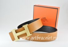 Hermes Reversible Belt Light Coffe/Black Togo Calfskin With 18k Silver Wave Stripe H Buckle