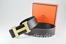 Hermes Reversible Belt Black/Black Togo Calfskin With 18k Silver Wave Stripe H Buckle