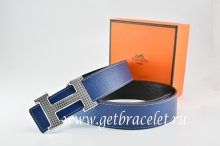 Hermes Reversible Belt Dark Blue/Black Togo Calfskin With 18k Gold Wave Stripe H Buckle