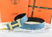 Hermes Reversible Belt Blue/Black Togo Calfskin With 18k Gold Wave Stripe H Buckle