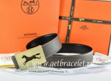 Hermes Reversible Belt Brown/Black Togo Calfskin With 18k Hollow Horse Gold Buckle