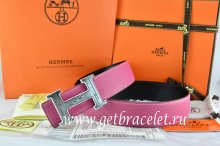 Hermes Reversible Belt Pink/Black Togo Calfskin With 18k Silver Geometric Stripe H Buckle
