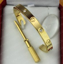 Cartier Semi-Open Love Bracelet Yellow Gold 4 Diamonds