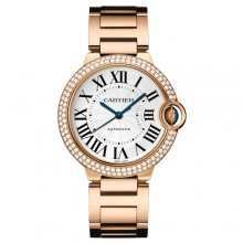 Ballon Bleu de Cartier medium swiss automatic watch 18kt pink gold diamonds bezel