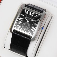 Cartier Tank MC swiss quartz watch for men steel black dial and leather strap