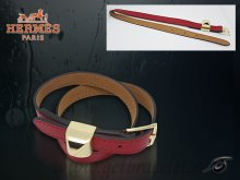 Hermes Double Tour Leather Bracelet Red With Gold