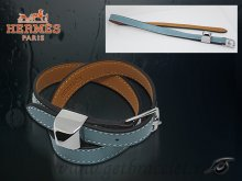 Hermes Double Tour Leather Bracelet Blue With Silver